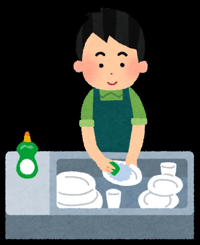 皿洗いする男性